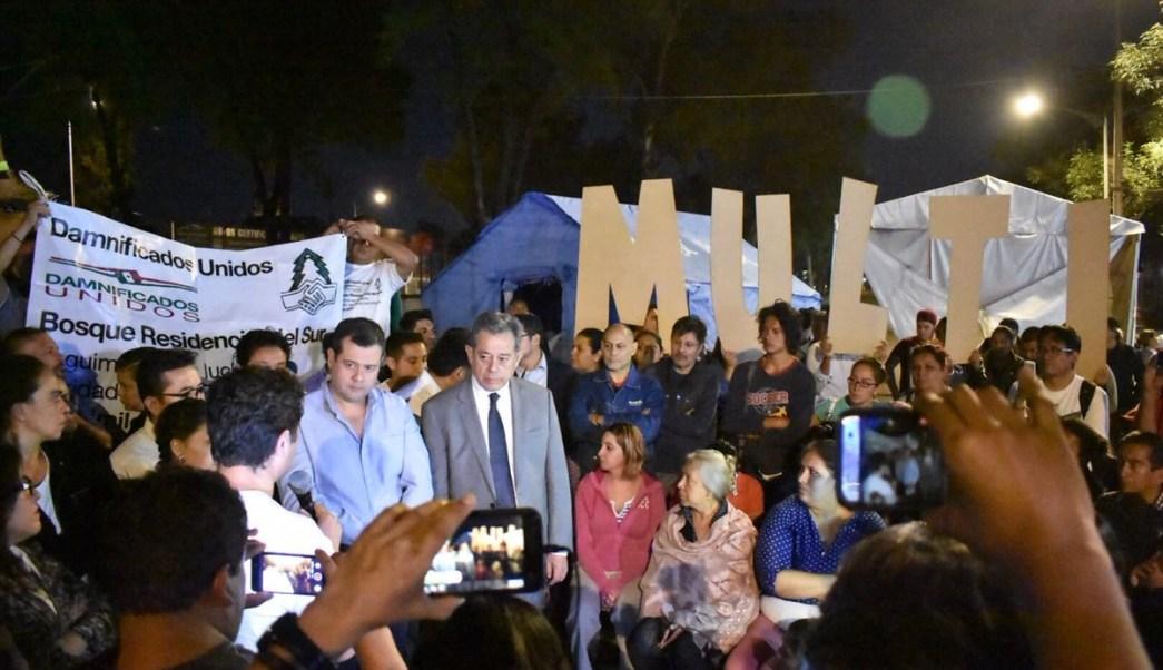 Amieva acude a bloqueo de Tlalpan con damnificados del 19S