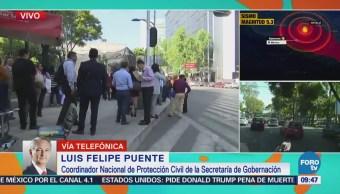 Luis Felipe Puente reporta saldo blanco tras sismo registrado en la CDMX