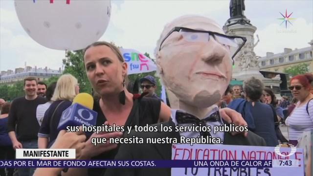 Macron enfrenta tercera huelga del primer año de gobierno