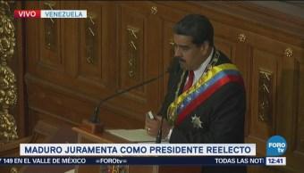 Maduro juramenta como presidente reelecto de Venezuela