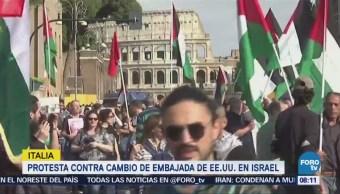 Manifestantes Italia Rechazan Cambio Sede Embajada Eu Israel