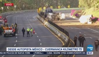Mantienen cordón de seguridad accidente autopista Cuernavaca