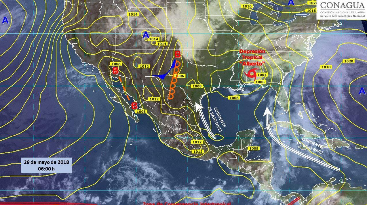 Mapa con el pronóstico del clima para este 29 de mayo. (SMN)