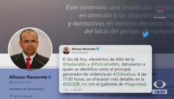 Navarrete Prida anuncia captura de jefe criminal