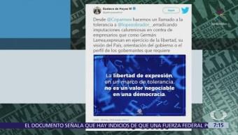 Presidente de Coparmex llama a AMLO a mayor tolerancia