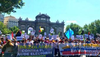Venezolanos marchan en Madrid contra las elecciones en su país