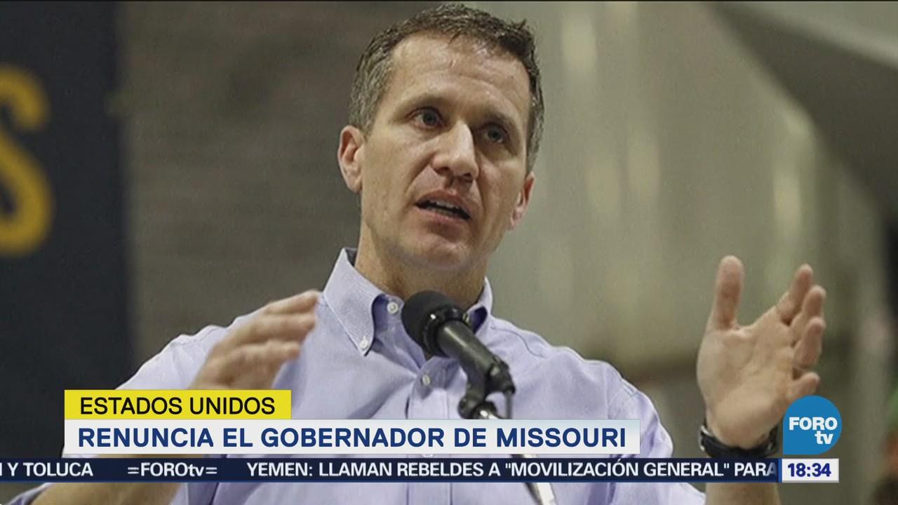 Renuncia gobernador Missouri, Durante una conferencia de prensa, Eric Greitens,
