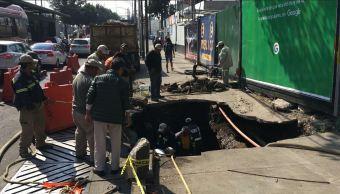 Inicia reparación de socavón en Insurgentes Sur, CDMX