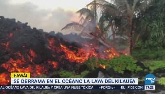 Derrama Océano Lava Volcán Kilauea