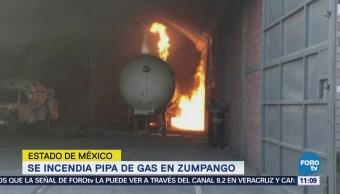 Se incendia pipa de gas en Zumpango, Edomex