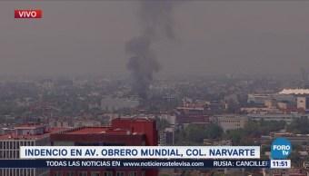 Se incendia taller mecánico en Obrero Mundial, CDMX