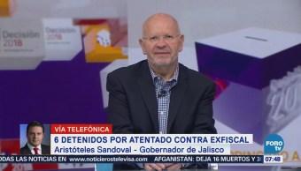 Seis detenidos por atentado contra exfiscal de Jalisco, informa Aristóteles Sandoval