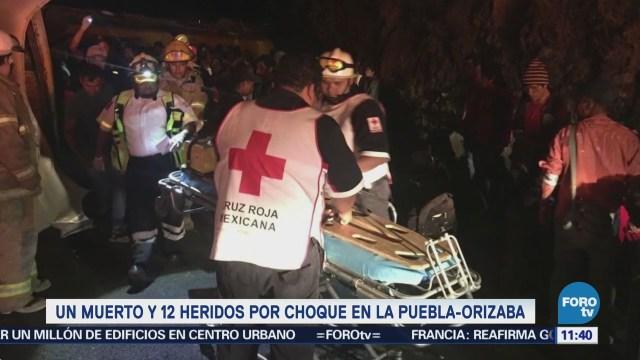 Un muerto y 12 heridos deja choque en la Puebla-Orizaba