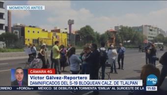 Damnificados Sismo Bloquean Calzada Tlalpan