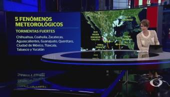 Cinco fenómenos meteorológicos ocasionan lluvias en