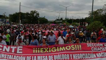 CNTE mantiene séptimo día de paro en Chiapas