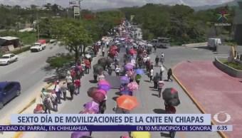 CNTE cumple seis días de paro en Chiapas
