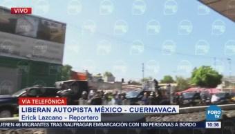 CNTE libera autopista México-Cuernavaca; avanza por Tlalpan al centro