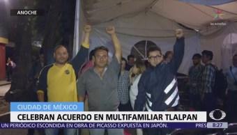 Damnificados de Tlalpan y autoridades logran acuerdos