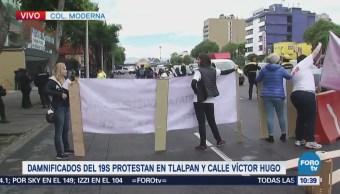 Damnificados del sismo 19S se manifiestan en calzada de Tlalpan