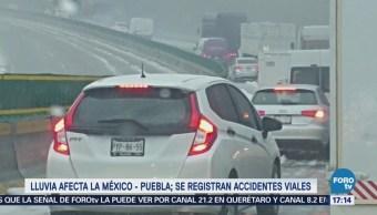 Lluvia Provoca Accidentes Viales México-Puebla