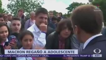 Macron regaña a estudiante por llamarlo 'Manu'