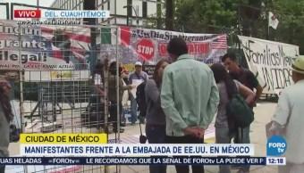 Manifestantes protestan contra políticas migratorias en Reforma