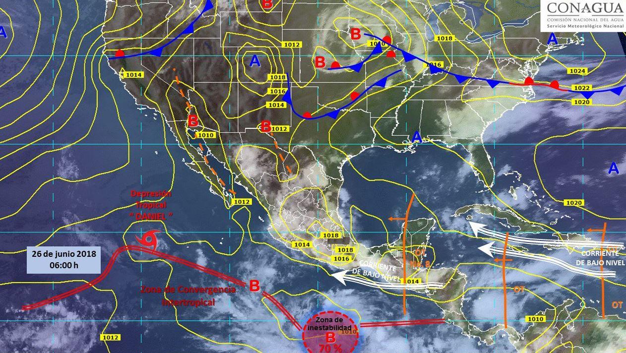 Mapa con el pronóstico del clima para este 26 de junio. (SMN)