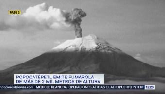 Popocatépetl Emite Fumarola 2 Mil Metros