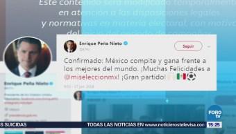 Peña Nieto felicita a la selección mexicana de futbol