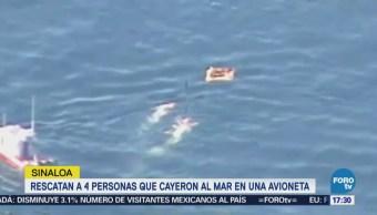 Rescatan a personas cayeron al mar en avioneta en Sinaloa