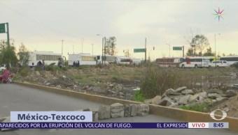 Se registra bloqueo en la autopista México-Texcoco