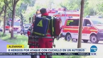 Ataque con cuchillo en un autobús en Alemania deja 8 heridos