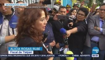 Autoridades dialogan con vecinos que resguardan Rébsamen