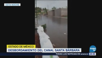 Desbordamiento Canal Santa Bárbara Ixtapaluca Estado de México