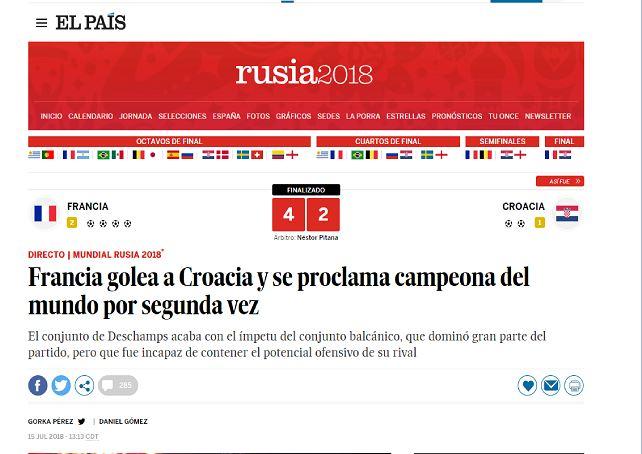 Prensa del mundo destaca victoria de Francia en el Mundial