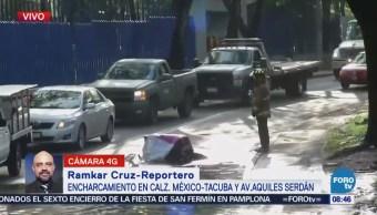 Encharcamiento provoca tránsito pesado en la calzada México-Tacuba