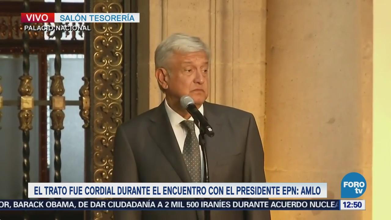 Encuentro con el presidente Peña Nieto fue cordial, dice AMLO