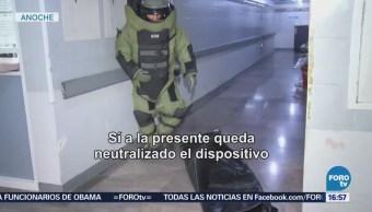 Evacuan Hospital Simulacro Amenaza Bomba