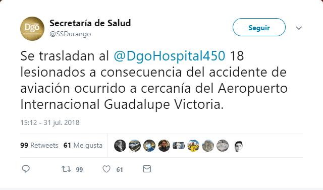No hay reporte de muertos en avión caído en Durango