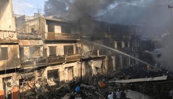 mueren dos mujeres incendio mercado tamazunchale slp