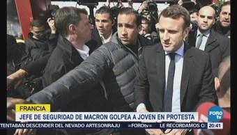 Jefe de seguridad de Macron golpea a manifestante