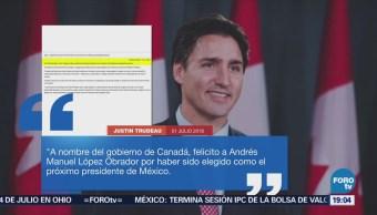 Justin Trudeau Felicita Andrés Manuel López Obrador