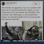 López Obrador conmemora a Benito Juárez y a Nelson Mandela