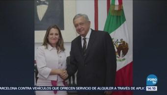 López Obrador Recibe Chrystia Freeland Casa Transición