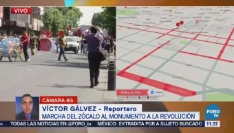 Manifestación afecta tránsito en el centro de la CDMX