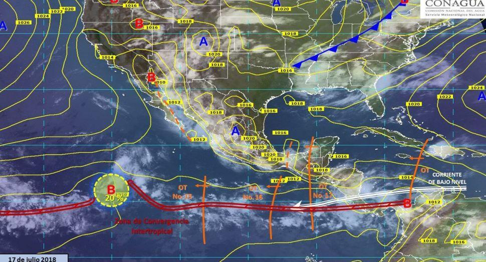 2 ondas tropicales y un canal de baja presión traerán tormentas