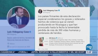 México y 12 países piden el cese inmediato de la violencia en Nicaragua