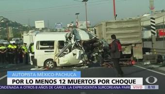 Mueren 12 personas por choque autopista México-Pachuca