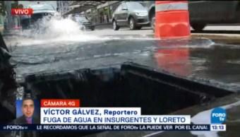 Continúan Maniobras Reparar Fuga Agua Insurgentes Cdmx